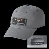 E15662 CAP-C6 CORVETTE FRAYED PATCH-CHARCOAL