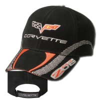 E15683 CAP-C6-Z06 CORVETTE CHECKERBOARD STRIPE-BLACK