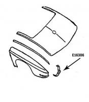 E16306 BONDING STRIP-TAILLAMP-VERTICAL-PRESS MOLDED-WHITE-LEFT HAND-64-65