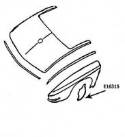 E16315 BAFFLE-REAR FENDER-REAR BAFFLE-PRESS MOLDED-BLACK-RIGHT HAND-67