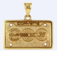 E19407 JEWELRY-LICENSE PLATE-14K GOLD PLATE OVER .925 STERLING SILVER-CORVETTE 35TH ANNIVERSARY