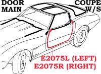 E2075R WEATHERSTRIP-DOOR MAIN-COUPE-USA-RIGHT-69-77