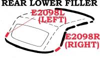 E2098L WEATHERSTRIP-SOFT TOP-REAR LOWER FILLER-USA-LEFT-61-62