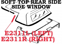 E2311R WEATHERSTRIP-SOFT TOP CONVERTIBLE-REAR SIDE WINDOW-USA-RIGHT-86-96