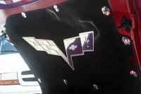 E21766 Badge-Hood Liner-Stainless Steel-C6 Crossed Flags-05-13